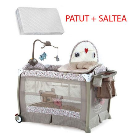 Krausman – Patut Sleeper Beige Pink Luxury + Saltea Cocos